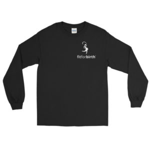 Men's Long Sleeve T-Shirt with White Logo