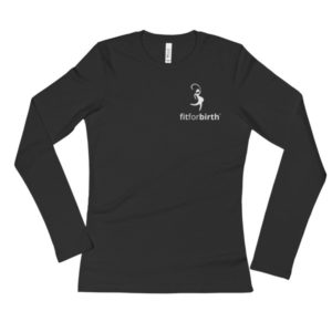 Ladies' Long Sleeve T-Shirt with White Logo
